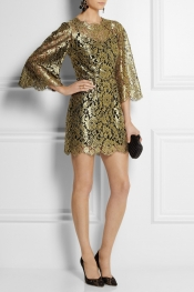 DOLCE & GABBANA Swarovski crystal-embellished metallic lace mini dress