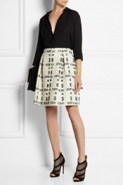 FENDI Pleated wool-blend bouclé skirt