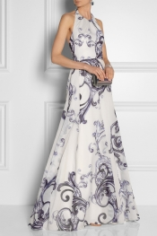 LELA ROSE Printed cotton-gauze and silk gown