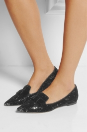JIMMY CHOO Gala flocked sequined leather point-toe flats