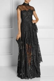 MARCHESA Chantilly lace gown