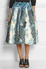 TIBI Sidewalk floral-print silk-gazar midi skirt