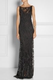 DONNA KARAN Embellished tulle gown