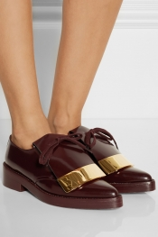 MARNI Embellished polished-leather point-toe lace-ups
