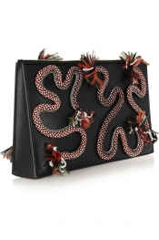 STELLA MCCARTNEY Rope-embroidered faux leather clutch