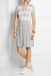 L'ETOILE SPORT Argyle-knit cotton and cashmere-blend polo dress