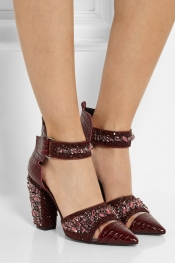 NICHOLAS KIRKWOOD Embellished croc-effect leather pumps