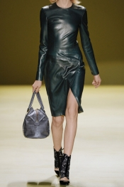 J MENDEL Asymmetric leather dress