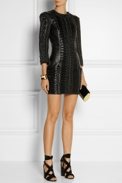 BALMAIN Stitched wool-paneled leather mini dress