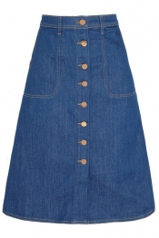 MIH JEANS The Midi Button Through stretch-denim skirt