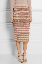 BURBERRY PRORSUM Fringed knitted cotton-blend midi skirt
