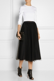 REDVALENTINO Point d'esprit tulle midi skirt