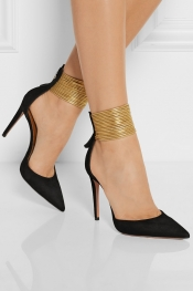 AQUAZZURA Hello Lover cord-trimmed suede pumps