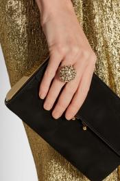 LANVIN Gold-tone Swarovski crystal ring