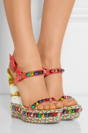 CHRISTIAN LOUBOUTIN Cataclou 140 embellished suede and leather wedge sandals