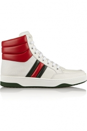GUCCI Textured-leather high-top sneakers