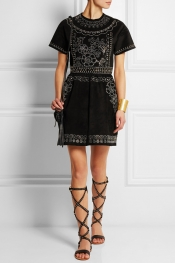 VALENTINO Studded suede mini dress