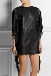 SAINT LAURENT Fringed leather mini dress