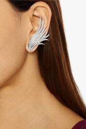 ANA KHOURI Boucles d'oreilles en or blanc 18 carats et diamants Wing