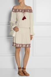 TALITHA Embroidered woven cotton mini dress