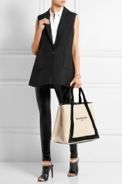 BALENCIAGA Cabas M leather-trimmed canvas tote
