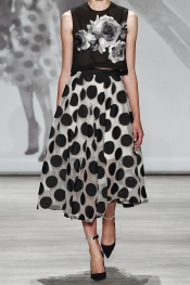 LELA ROSE Polka-dot chiffon skirt