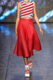 DKNY Scuba-mesh midi skirt