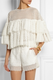 CHLOÉ Ruffled crocheted lace top