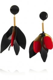 MARNI Gold-plated horn and resin clip earrings