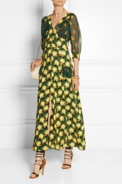 ANNA SUI Daisy-print crepe and silk-chiffon maxi dress