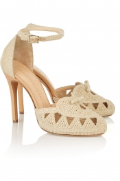 CHARLOTTE OLYMPIA Harvest woven raffia pumps