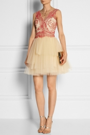 MARCHESA NOTTE Corded lace and tulle mini dress
