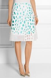 PRABAL GURUNG Cutout A-line silk-blend skirt