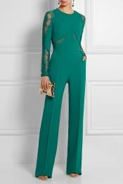 ELIE SAAB Lace-paneled crepe jumpsuit