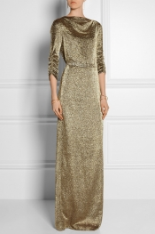 JENNY PACKHAM Draped silk-blend lamé gown