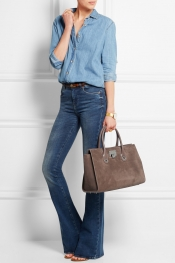 JIMMY CHOO Riley leather-trimmed suede tote