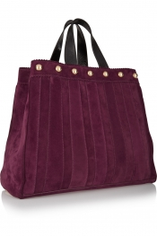 TAMARA MELLON Sugar Daddy studded leather-trimmed suede tote