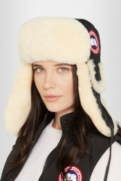 CANADA GOOSE Canvas and shearling hat
