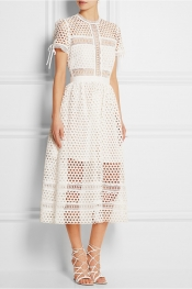 SELF-PORTRAIT Macramé lace midi dress