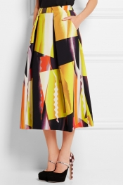 KENZO Spray Collage printed stretch-crepe midi skirt