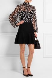 DOLCE & GABBANA Floral-print silk-chiffon blouse