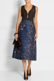 BURBERRY PRORSUM Cutout printed cotton-blend dress