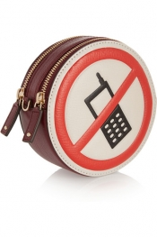 ANYA HINDMARCH Hadlow No Mobiles textured-leather clutch