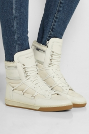 SAINT LAURENT Shearling-lined leather and shell high-top sneakers