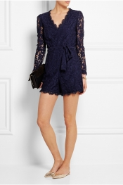 TEMPERLEY LONDON Coco cotton-blend lace playsuit