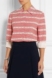 MIU MIU Striped cotton-poplin shirt
