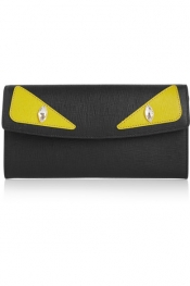 FENDI Crayons embellished textured-leather continental wallet