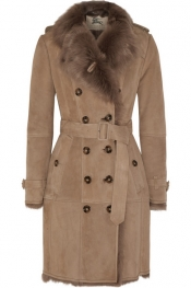 BURBERRY LONDON Double-breasted shearling coat