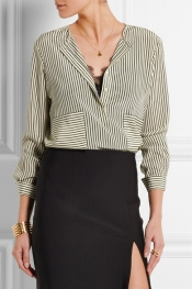 ALTUZARRA Carnegie pinstriped silk crepe de chine shirt