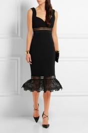 SELF-PORTRAIT Olivia guipure lace-paneled crepe dress